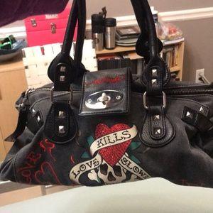 Ed Hardy black Jean material purse